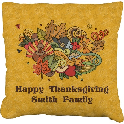 "Happy Thanksgiving Faux-Linen Throw Pillow 20"" (Personalized)"