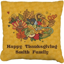 """Happy Thanksgiving Faux-Linen Throw Pillow 26"""" (Personalized)"""