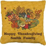 Happy Thanksgiving Burlap Throw Pillow (Personalized)