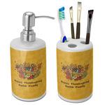 Happy Thanksgiving Bathroom Accessories Set (Ceramic) (Personalized)