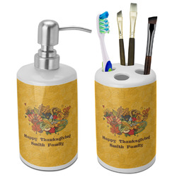 Happy Thanksgiving Bathroom Accessories Set (Ceramic) (Personalized)