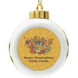 Happy Thanksgiving Ceramic Ball Ornament (Personalized)
