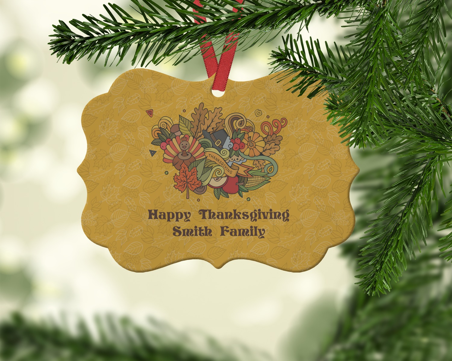 Happy Thanksgiving Ornament (Personalized)