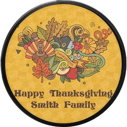 Happy Thanksgiving Round Trailer Hitch Cover (Personalized)