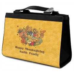 Happy Thanksgiving Classic Tote Purse w/ Leather Trim (Personalized)