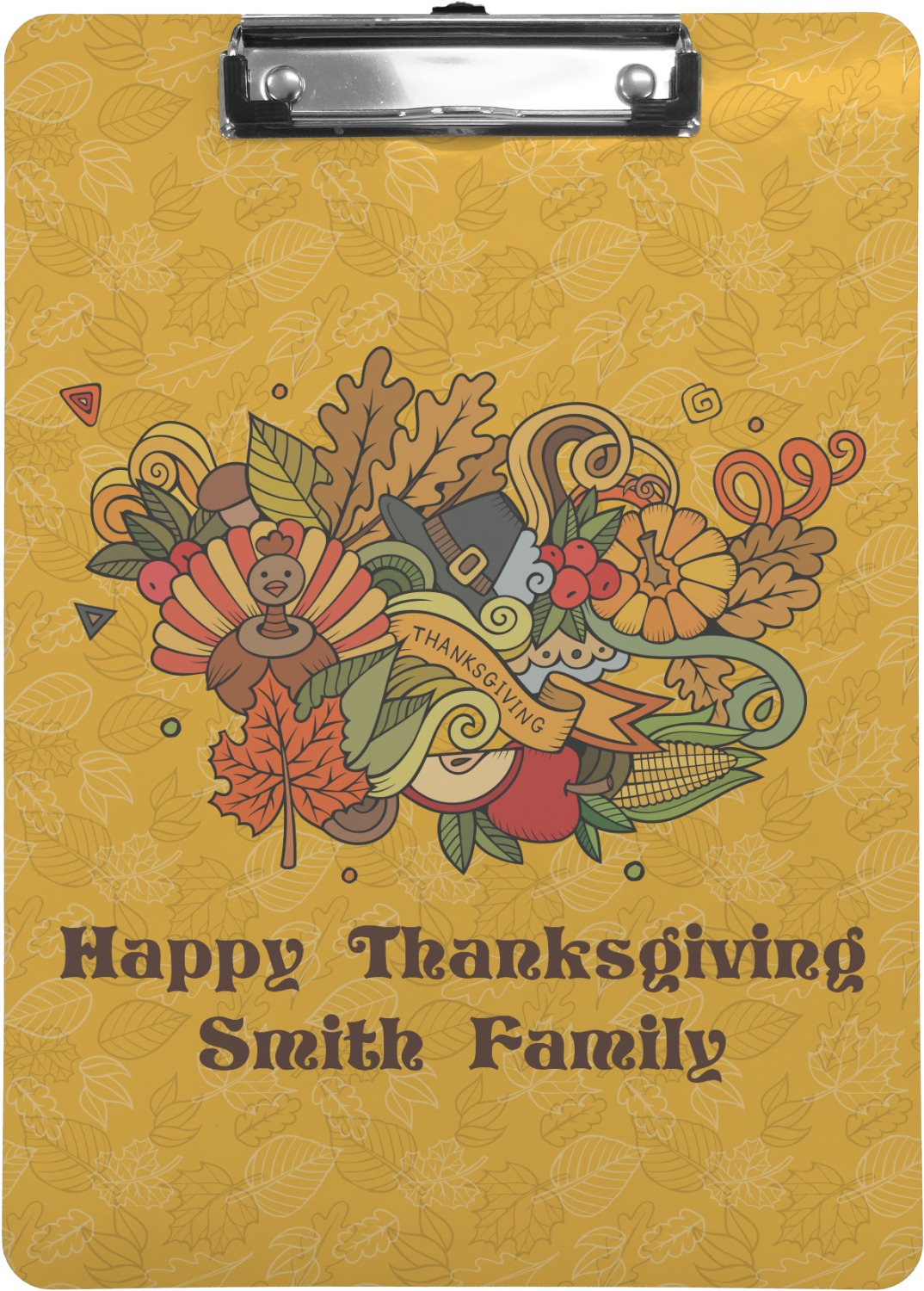 Happy Thanksgiving Clipboard Letter Size Personalized