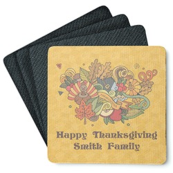 Happy Thanksgiving 4 Square Coasters - Rubber Backed (Personalized)