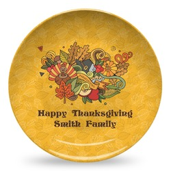Happy Thanksgiving Microwave Safe Plastic Plate - Composite Polymer (Personalized)