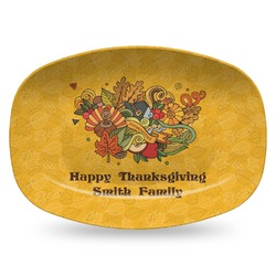 Happy Thanksgiving Plastic Platter - Microwave & Oven Safe Composite Polymer (Personalized)