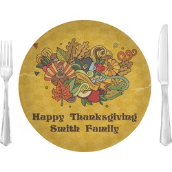 "Happy Thanksgiving Glass Lunch / Dinner Plates 10"" - Single or Set (Personalized)"