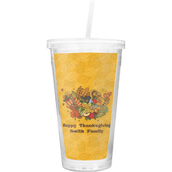 Happy Thanksgiving Double Wall Tumbler with Straw (Personalized)