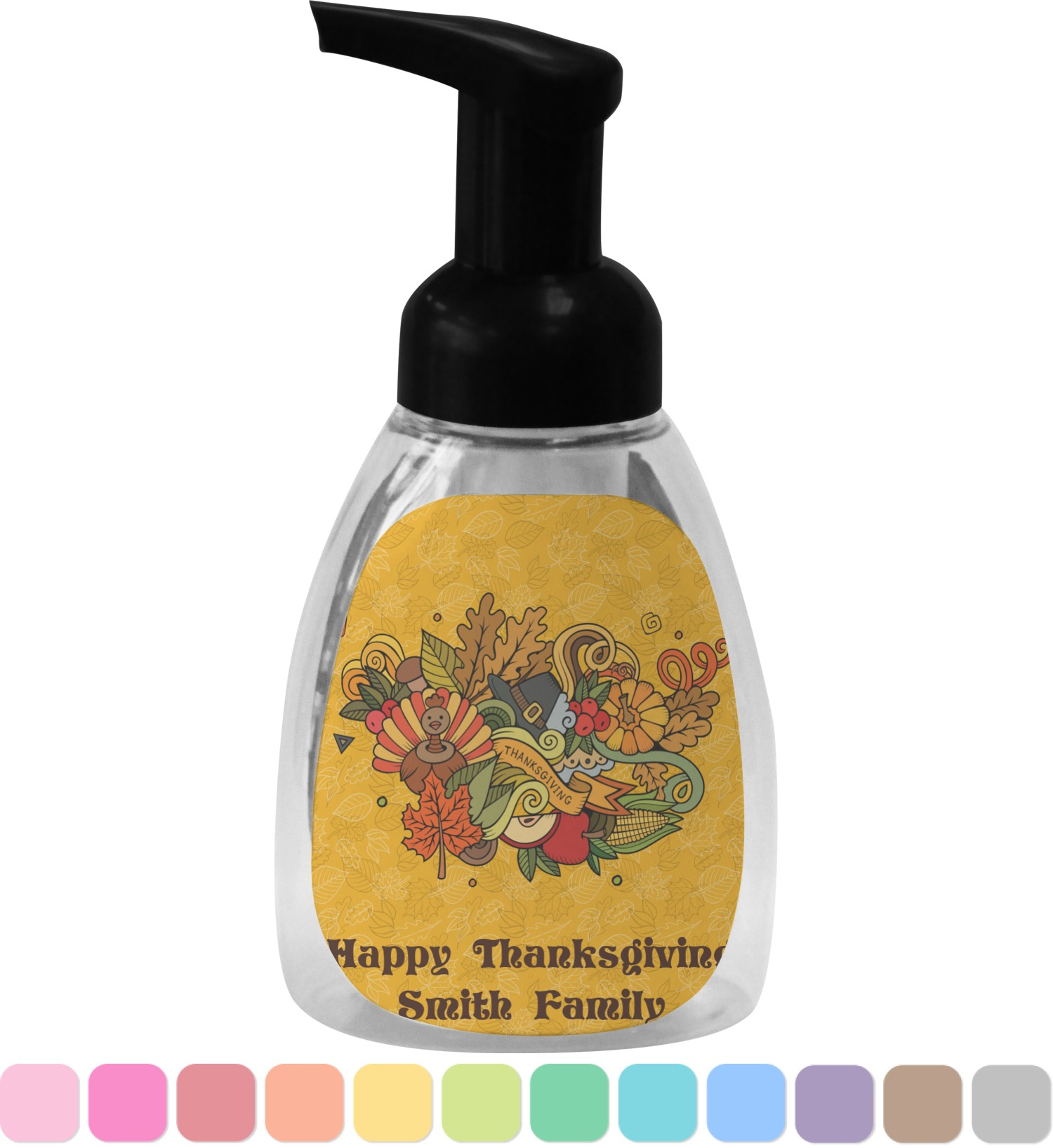 Traditional Thanksgiving Wave Bottle Soap Lotion Dispenser Personalized