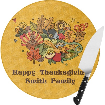 Happy Thanksgiving Round Glass Cutting Board (Personalized)