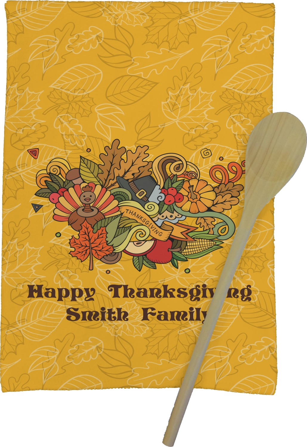Happy Thanksgiving Kitchen Towel   Full Print (Personalized)