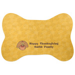 Happy Thanksgiving Bone Shaped Dog Food Mat (Personalized)