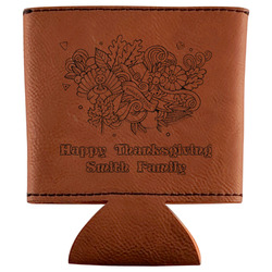 Happy Thanksgiving Leatherette Can Sleeve (Personalized)