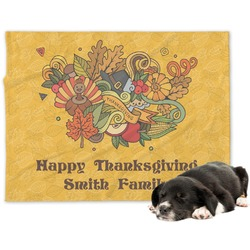 Happy Thanksgiving Minky Dog Blanket (Personalized)