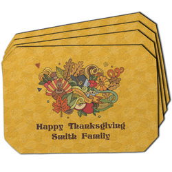Happy Thanksgiving Dining Table Mat - Octagon w/ Name or Text
