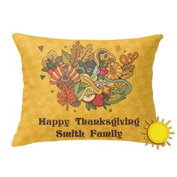 Happy Thanksgiving Outdoor Throw Pillow (Rectangular) (Personalized)
