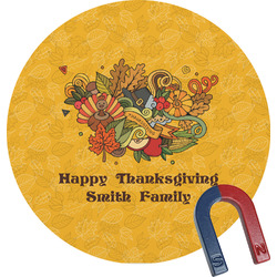 Happy Thanksgiving Round Magnet (Personalized)