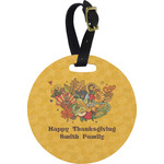 Happy Thanksgiving Round Luggage Tag (Personalized)