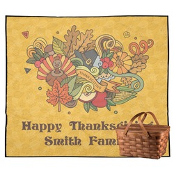Happy Thanksgiving Outdoor Picnic Blanket (Personalized)