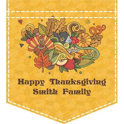 Happy Thanksgiving Iron On Faux Pocket (Personalized)