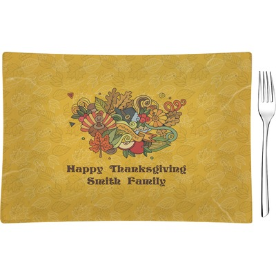 Happy Thanksgiving Rectangular Glass Appetizer / Dessert Plate - Single or Set (Personalized)