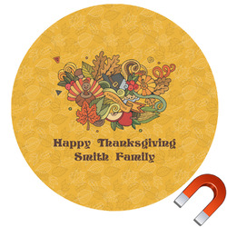 Happy Thanksgiving Round Car Magnet (Personalized)