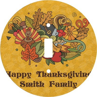 Happy Thanksgiving Round Light Switch Cover (Personalized)