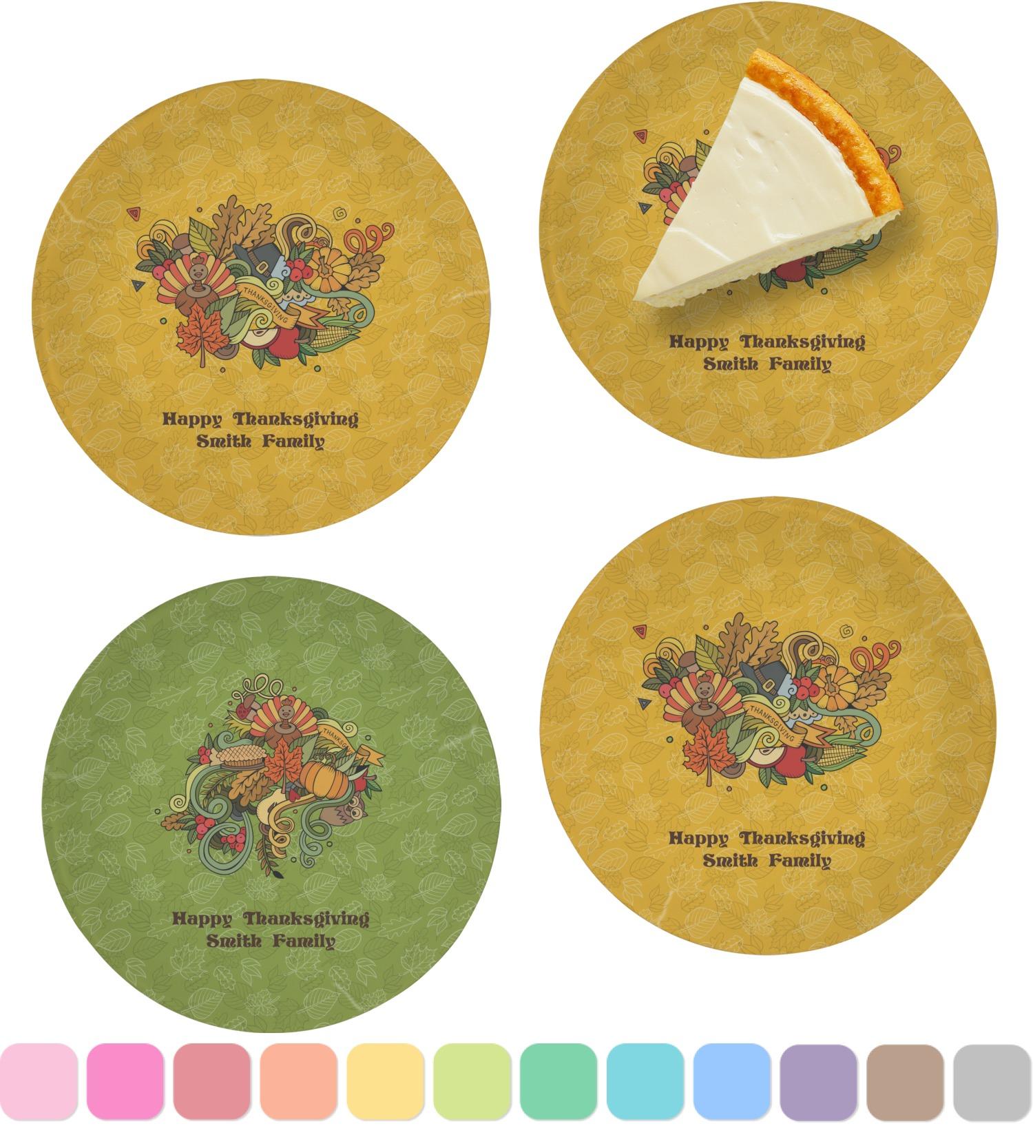 Happy Thanksgiving Set Of Appetizer Dessert Plates