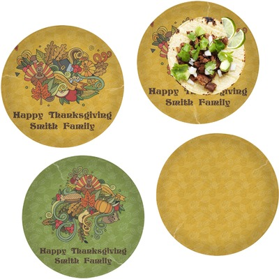 "Happy Thanksgiving Set of 4 Glass Lunch / Dinner Plate 10"" (Personalized)"