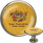 Happy Thanksgiving Cabinet Knob (Silver) (Personalized)