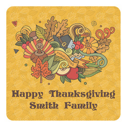 Happy Thanksgiving Square Decal - Medium (Personalized)