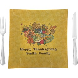 """Happy Thanksgiving Glass Square Lunch / Dinner Plate 9.5"""" - Single or Set of 4 (Personalized)"""