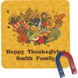 Happy Thanksgiving Square Fridge Magnet (Personalized)