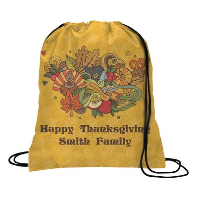 Happy Thanksgiving Drawstring Backpack - Medium (Personalized)