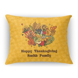 Happy Thanksgiving Rectangular Throw Pillow Case (Personalized)