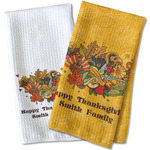 Happy Thanksgiving Waffle Weave Kitchen Towel (Personalized)