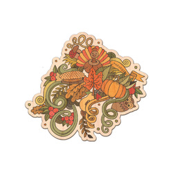 Happy Thanksgiving Genuine Maple or Cherry Wood Sticker (Personalized)