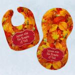 Fall Leaves Baby Bib & Burp Set