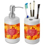 Fall Leaves Bathroom Accessories Set (Ceramic)