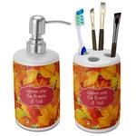 Fall Leaves Ceramic Bathroom Accessories Set