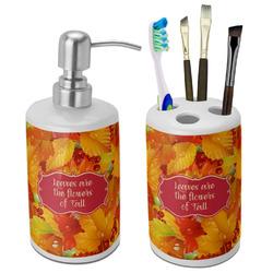 Fall Leaves Bathroom Accessories Set (Ceramic)