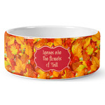Fall Leaves Ceramic Dog Bowl