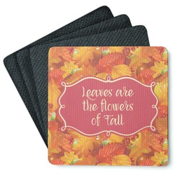 Fall Leaves Square Rubber Backed Coasters - Set of 4