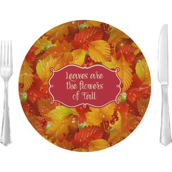 """Fall Leaves 10"""" Glass Lunch / Dinner Plates - Single or Set"""