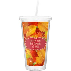Fall Leaves Double Wall Tumbler with Straw