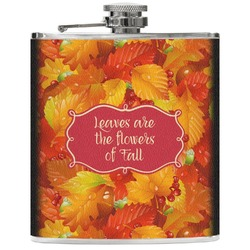 Fall Leaves Genuine Leather Flask