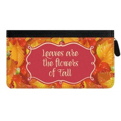 Fall Leaves Genuine Leather Ladies Zippered Wallet